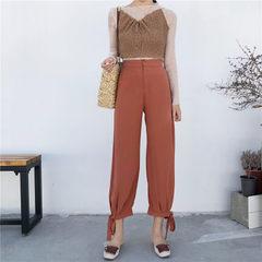 Manya summer new style Korea chic high waist loose tie show leg long wide leg 9 minutes trousers wom Caramel nine-point pants s.