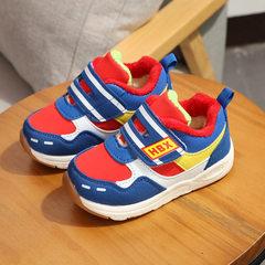 冬季新款女童运动鞋皮款加绒儿童机能鞋加厚保暖宝宝学步棉鞋 大红666 23码/内长14cm