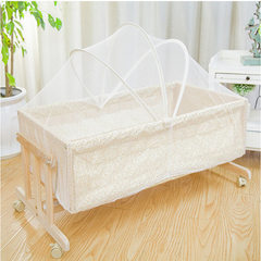 Crib baby swing blue bed pine european-style crib multi-purpose crib for children Yellow floret 95*50cm 95 * 50 cm
