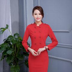 2017新款职业装女装套装秋冬时尚气质连衣裙工作服正装 红色 S