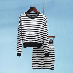 伊#D系列品牌折扣时尚套装女装 春秋长袖针织衫半身裙两件套 11-1 黑白条/上衣 XS