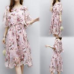 2018夏装新款女装韩版时尚雪纺连衣裙女夏季中长款小清新碎花裙子 肉粉色 S
