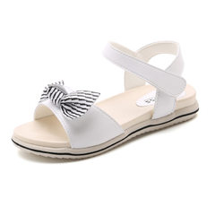 Girls` bow tie color striped sandal summer 2018 new Korean children`s fashion flat heel princess sho white 28