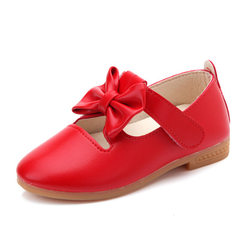 Handle children and girls single shoes spring and autumn new Korean version of princess shoes bowkno Bright red 31-36 (6 pairs for each hand)