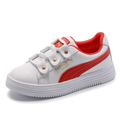 Girls` real leather leisure shoes 2018 spring new school shoes children take white shoes breathable  White/red 26