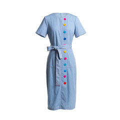 2018 summer new women`s wear European and American high-end boutique slim waistband denim dress The light blue s.