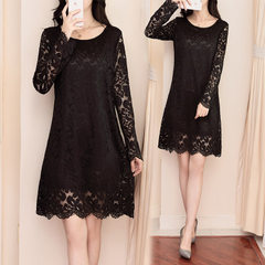 Fat sister big size women`s dress add fat add 200 jin fat mm fashion show thin lace dress sexy black Size XL recommends 115-135 kg
