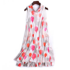 Su sua 2018 summer boutique high-end women`s print sleeveless dress loose large skirt medium length  White + red s.