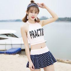 甜美吊带分体新款学生泳衣 性感斑点裙式平角泳衣水上用品代发 米色 均码