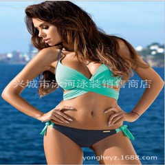 Swimwear 2017 new style bikini in the confectionery color cross bikini women European and American s Lake green and grey trousers s.