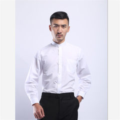Yilan wholesale men`s shirt youth vertical collar pure color Korean version of slim work clothes lon White. 15% cotton with long sleeves s.