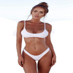 New bikini amazon sexy swimsuit European and American triangle polyamide solid color large size wome white s.