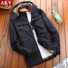 Jacket men spring and autumn thin large size leisure coat sports youth outdoor waterproof clothes 21 The color s.