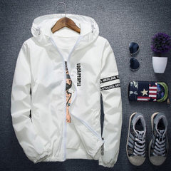 The new men`s coat of spring and autumn, 2018, Korean version, fashion and leisure students, handsom white s.