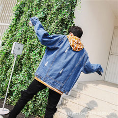 Men`s denim jacket autumn/winter style lovers` bf loose-fitting Japanese style fashionable harbor st blue xs