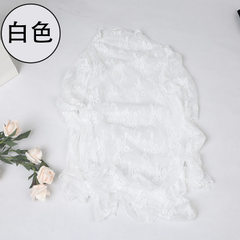 2018 new spring and summer lace cardigan sexy hollow-out see-through net lady blouse long sleeve tri white All code