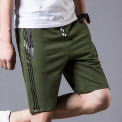 New sports shorts, men`s pants, cotton, 5 pant, casual shorts, men`s summer baggy beach pants 1705 army green m