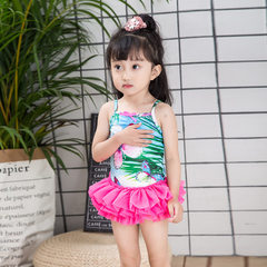 Girls` swimsuit 2018 new children`s sunscreen baby surf suit children`s beach suit a hair replacemen The picture color 90 yards