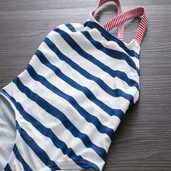 Spot Korean version of girls` swimsuit navy stripe girls` swimsuit baby swimsuit with lovely body Navy stripes 2 t (1-2 years of age) S