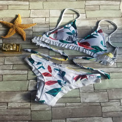 2018 new printed hollow-out female body bikini in Europe and America The picture color s.