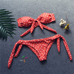 INS web celebrity hot style sells amazon polka-dot print polka-dot bikini swimsuit with special fabr orange s.