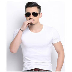 Spring and summer, 2018 pure color short sleeve T-shirt for men, Korean version, casual round neck T white m