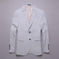 Men`s wear English style flax suit jacket men`s casual suit simple western coat cotton and linen sui white s.