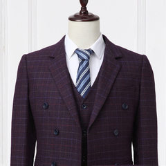 The new double-breasted business suit for men is a solid color plaid suit Purple grid 44