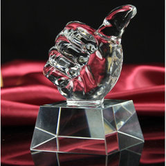 Crystal trophy MEDALS customized thumb star glass medal trophy crystal white billet crafts wholesale 15 cm