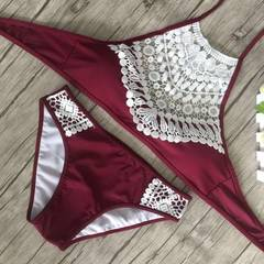 Swimwear swimwear brand new European and American lace bikini women bikini swimwear manufacturers di Red wine s.