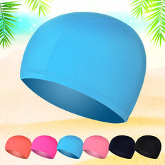 Independently packed polyamide fabric swimming cap men`s and women`s pure color cloth swimming cap p Mei red