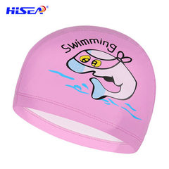 Cross-boundary special for adult children swimming cap high elastic silicone PU coating boys and gir Blue PU coating (for children)