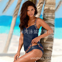 Swimming river swimsuit 2018 new size bionic swimsuit women European and American sexy swimwear 1903 Navy blue s.