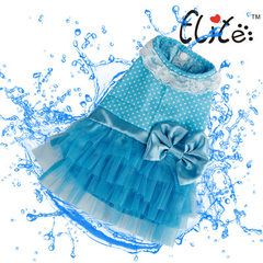 Dog clothing summer pet dress wave blue bow teddy chihuahua small and medium dog clothing blue xs