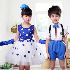 Children`s performance dress kindergarten girls` pengpeng skirt dance dress primary and secondary sc Men`s jeans are blue 90 cm