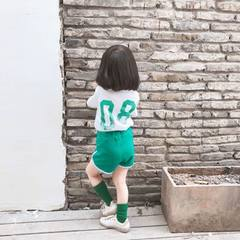 2018 summer new sports shorts set short-sleeved boys and girls baby 08 printed cotton T-shirt green 80 cm