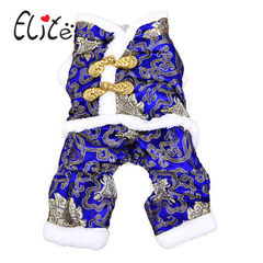 Dog clothes autumn winter outfit dog feet New Year tang suit teddy bear poodle chihuahua puppy pet S blue S: 25