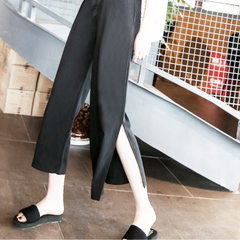 Pregnant women`s summer pants chiffon wide-leg pants spring and summer 2018 new Korean version loose Open fork l
