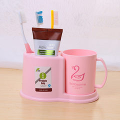 Toothbrush rack wash gargle set plastic toothbrush holder with mouthwash cup brush cup furniture she Mixed color 19.5 * 8.2 * 8.2