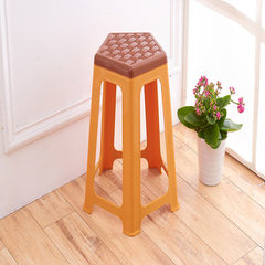 Factory direct selling plastic stool thickening adult table stool double color woven stool happy fiv brown 27 * height 48 cm