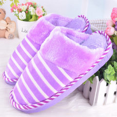 Winter cotton-slipper new style indoor thermal lovers household anti-skid winter cotton-slipper whol The stripes are flat and red 38-39 (for 35-37)