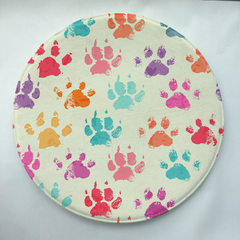 Watercolor style circular printed carpet bedroom living room floor mat footprint fish pattern antisk Water footprint 60 * 60 cm