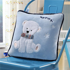 Cute cartoon short plush pillow by the multi-function pillow quilt children by dual-use portable cry Polar bear - blue 110 x160cm