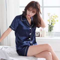 The new style of fashionable ladies` pajamas in summer 2018, thin style, short-sleeved, two-piece se Pure silk blue m