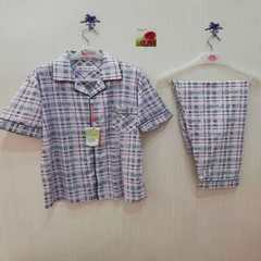 Spring and summer new men`s short-sleeved pyjamas set cotton trousers grey checked pyjamas set home  red xl