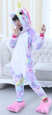 Flannel new style children cartoon animal conjoined pajama women purple pink rainbow tianma such as  Children`s stars and horses Size 100, height 100-105