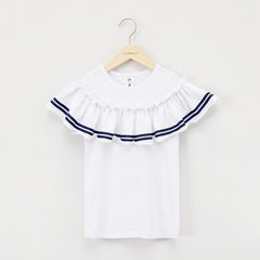 Children`s dress 2018 summer girls` dress in the small children spell color smart Korean version of  white 5 yards [90cm]