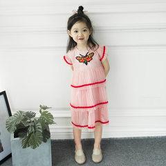 Summer net gauze children`s skirt summer butterfly embroidered cake girl dress summer butterfly girl pink 80 cm