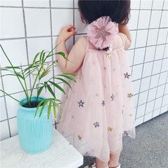尤尤猫咪2018新款夏款 五角星亮片公主裙超仙美网纱蓬蓬裙舞蹈裙 粉色 80cm