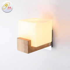 Factory wholesale simple modern led solid wood wall lamp headroom porch wood art wall lamp household E27 * 1